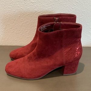 Violet & Red Suede Boots